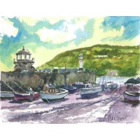 Smeaton's Pier St Ives water colour