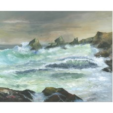 Bedruthan Steps Rough Sea Cornwall
